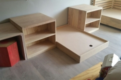 Daybed desk and shelves
