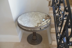Round antique mirror table top