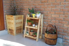 Oregon Pine and SA Pine tall plant pots and set of shelves
