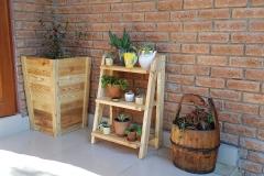 Oregon Pine and SA Pine tall plant pots and set of shelves