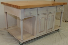 Rustic kitchen island with Oregon top