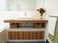 Wood veneer laminate  bathroom vanity