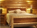 Log and plank double bed and pedestals