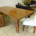 Kiaat 8 seater dining table with upholstered chairs